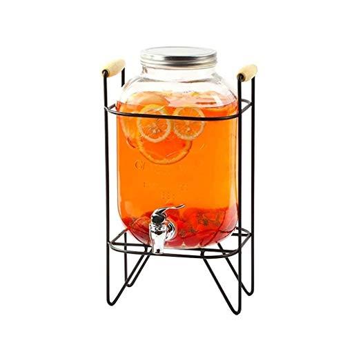 ZDVHM Tarro de Cristal de Almacenamiento Dispensador de Bebidas Tarro con Grifo y el Marco del Partido de Jugo de té de la Bebida Vino Tinto dispensadora de Bebidas Frescas 5L