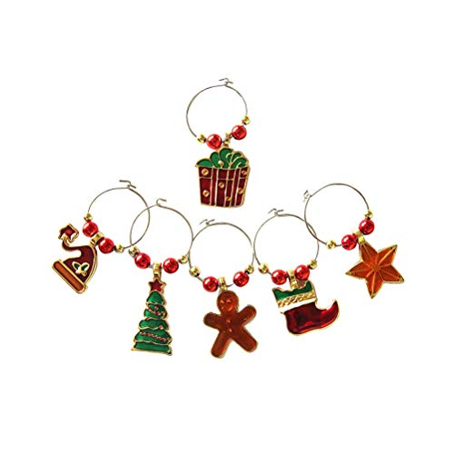 STOBOK Weinglas Charms Ringe Weihnachten Thema Glas Getränk Marker Tags Draht Reifen Party Favors Supplies 6pcs