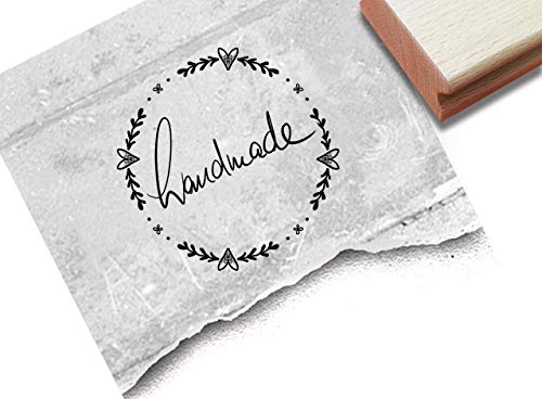 Stempel Handmade, in Handschrift Ranke - Textstempel Karten Geschenkanhänger Etiketten Schilder selbst gemacht Geschenke dekorieren - zAcheR-fineT