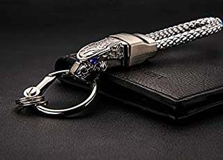 Creative Leopard Head Model Weave Keychains Key Holder Car Key Ring Chain Zinc Alloy Automobile Car Styling Car Accessories Gift-Silver