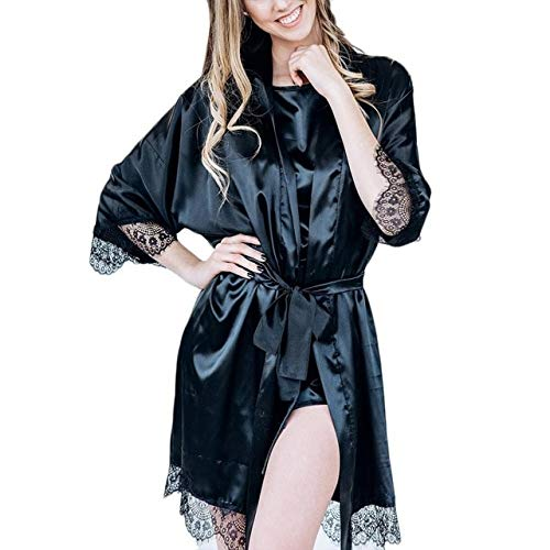 ONT Sexy camisón de Mujer Kimono de Seda Vestido de Noche Babydoll Encaje Lencería Albornoz Camisón Albornoz Camisón Sleepwea Femme XL Negro E