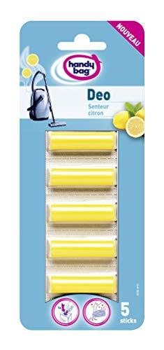 Melitta Handy Bag Déo Sticks, pour Aspirateurs avec Sac, Sticks désodorisants Parfumés, Senteur Citron, Lot de 5