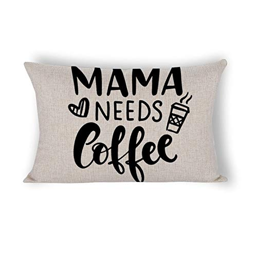 Mama Needs Coffee Funny Hand Lettering Citazione Cuscino lombare Cuscino decorativo per dormire letto sedia rettangolare federa per divano stampato 12 × 20