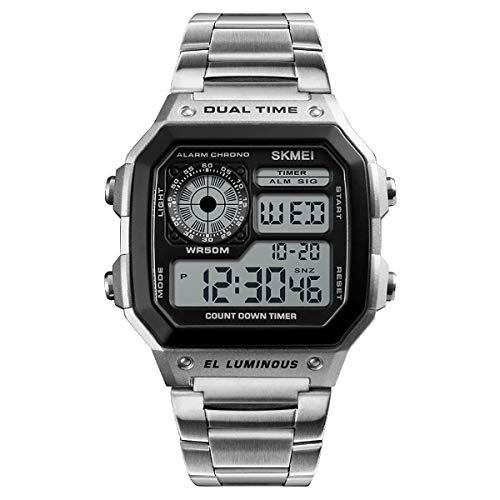 Skmei DG1335S Herren-Digitaluhr mit klarem Display, Edelstahlband, Datumsanzeige, Wecker, Stoppuhr
