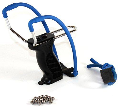 K&B Vertrieb Steinschleuder mit Kugelmagazin SCHWARZ + Ersatzgummi + 90 Stahlkugeln 014 Futterschleuder Sportschleuder Schleuder (1 Stück)
