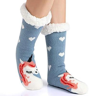Tacobear Mujeres Gruesos lana calcetines de piso casa abrigados animal calcetines de mujeres antideslizantes calcetines de alfombra Zapatillas de casa para Mujer (Morado-Unicornio B)