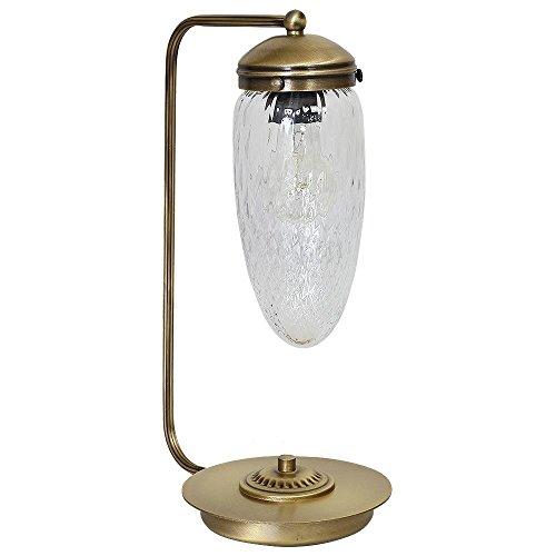 Tropfen Tischleuchte (Messing, Klar, Höhe 40cm, Zapfenschirm, E27) Messinglampe Jugendstillampe...