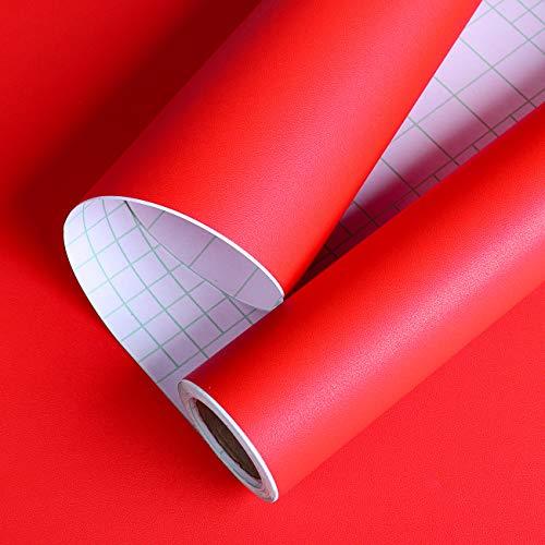 Livelynine 40CMx10M Tapete Rot dekofolie Möbelfolie Selbstklebend klebefolie Küche Folieren für Tisch Kühlschrank Schlafzimmer Möbel Schränke Wand Weihnachten Deko Retro Wand Tapete Abwaschbare Folie