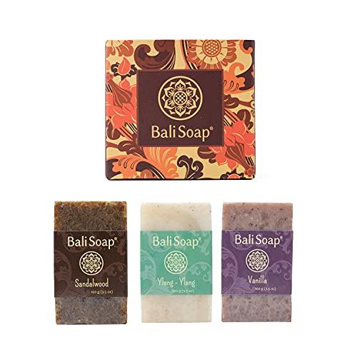 Bali Soap - Natural Soap Bar Gift Set, 3 pc Variety Pack, Sandalwood - Ylang-Ylang - Vanilla, Face or Body Soap, Best for All Skin Types, For Women, Men & Teens, 3.5 Oz each