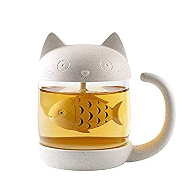 Cute Cat Glass Cup Tea Mug With Fish Tea Infuser Strainer Filter