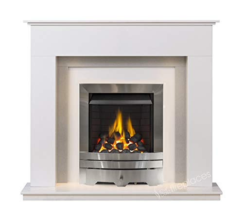 White and Grey Marble Stone Modern Wall Surround Gas Fireplace Suite Silver Inset Gas Fire with Spotlights
