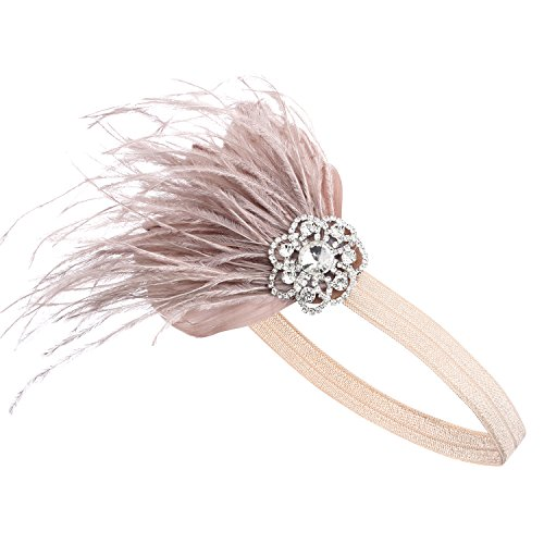 BABEYOND Años 20 Flapper Diadema de Pluma Diadema Gatsby Vintage Cinta para el Pelo con Cristal...