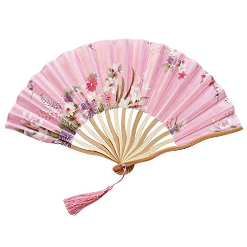 siqiwl Ventilador plegable 1 unid patrón de mano abanicos de seda de bambú plegable de mano plegable para la iglesia boda ventilador de mano fresco flor de bambú