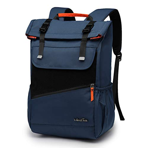 Wind Took Laptop Backpack Casual Backpack Rucksack Roll Top Water Resistant Lightweight Daypack Business Work Rucksack College High School Bag for Men Women Fit Up to 15.6 Inch Laptop