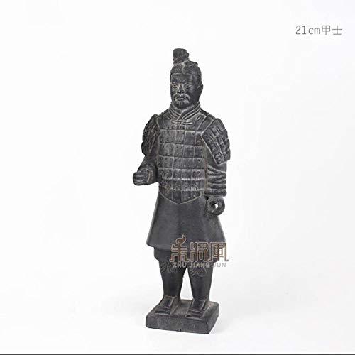 KOIYOI 29 cm Terrakotta Armee Krieger Ornament Keramik Figur Handwerk Wohnkultur Qin Dynastie Soldat Modell Skulptur Chinesischen Stil Geschenk, 21 cm Soldat