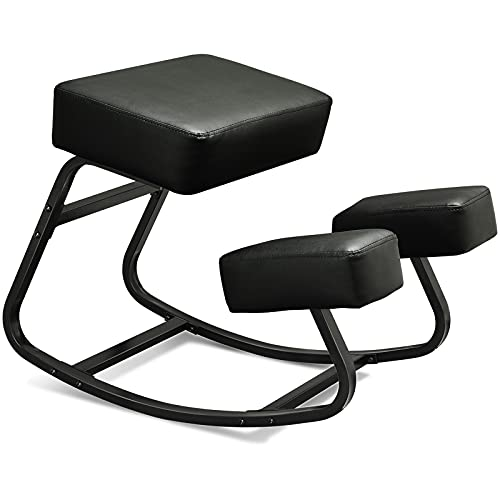 VIAGDO Ergonomic Kneeling Chair Kneel Stool Wooden Rocking Kneeling Chair for Home Office Chair Computer Kneeling Chairs for Upright Posture Thick Comfortable Cushion, Black Metal