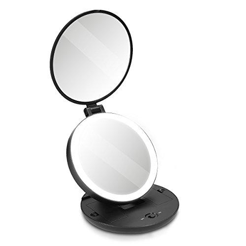 Navaris LED Taschenspiegel Kosmetikspiegel Schminkspiegel - Spiegel mit 5fach Vergrößerung Beleuchtung - Schmink Standspiegel beleuchtet - Schwarz
