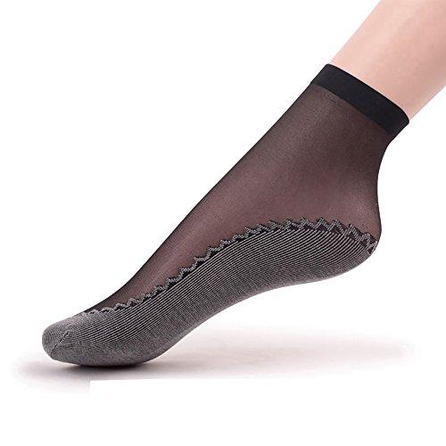 Ueither - 6 paia di gambaletti velati da donna, alla caviglia, con soletta in cotone antiscivolo e punta rinforzata (6 Coppie Nero)