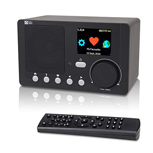 "Ocean Digital Internet WiFi Radio, Portable with Rechargeable Battery Bluetooth Receiver with 2.4"" Color Display, Support UPnP and DLNA (Black)"
