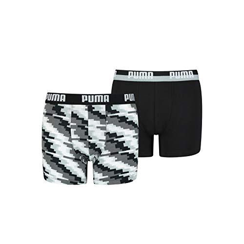 PUMA Boys Boy's Glitch (2 Pack) Boxer Shorts, Black Combo, 134-140