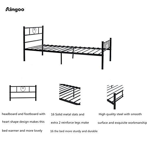 Aingoo Lit Cadre de Lit Simple Solid avec Un Grand Espace de Rangement pour Les Enfants et Les Adultes, 90x190(cm),Noir