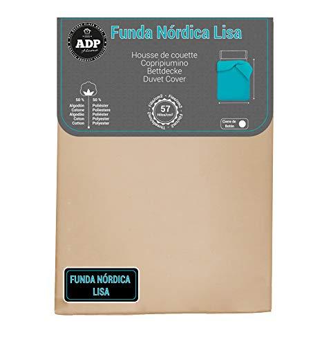 ADP Home - Funda nórdica Lisa, Calidad 144Hilos, 17 Hermosos Colores, Cama de 90 cm - Color: Beige