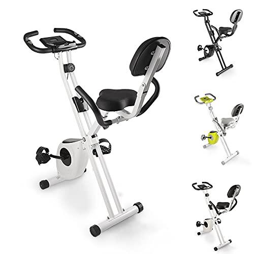 bigzzia Heimtrainer, Fitness Bike mit Handpulssensoren/ Widerstand/LCD Display/Rückenlehne, Klappbar Fahrrad Hometrainer bis 100 kg für Zuhause, Sportler und Senioren (Schwarz)