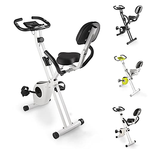 bigzzia Exercise Bike, 2 in1 Foldable Fitness Bike with Magnetic Resistance,LCD Monitor,Pulse Sensors,Silent Training Bike for Home Use Workout(Black and White)