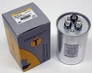 New TitanPro TRCFD455 HVAC Round Dual Motor Run Capacitor. 45/5 MFD/UF440/370 Volts