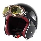 HSENA Casco moto Harley adulto retrò di anti collisione aperto maglia cotone fodera caschi moto con occhiali Chopper Outdoor S (circonferenza della testa / 5.556 centimetri)
