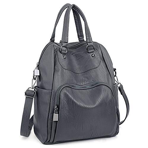 UTO Women Backpack 4 Types Convertible Rucksack Shoulder Pack Crossbody Bag Handbag PU Leather Grey Upgrade