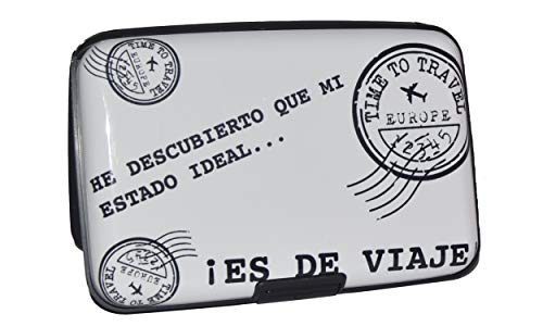 NIGHTMARE STYLE Tarjetero con función Bloqueo RFID y NFC (Blanco). Porta -Tarjetas Hombre o Mujer. Pasaporte Seguro. Equipaje de Viajes. Regalo Ideal.
