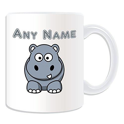 UNIGIFT - Tazza con ippopotamo sciocco (tema animale, bianco) – qualsiasi nome/messaggio sul tuo unico – un dente