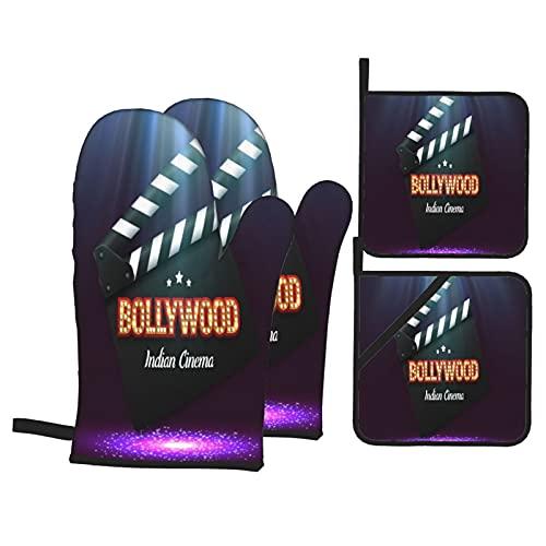 Guanti da forno e presine Set 4 pezzi,Bollywood Indian Cinema Movie Banner Pos,Guanti da forno resistenti al calore antiscivolo per cucina, cucina, barbecue, grigliate