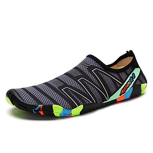 QHGao zwemschoenen voor dames en heren, snelheidsstoringen door water voorgelagerde schoenen, sneldrogende strandbadschoenen, blote voeten zwembadsokken, slijtvaste antislip bodem