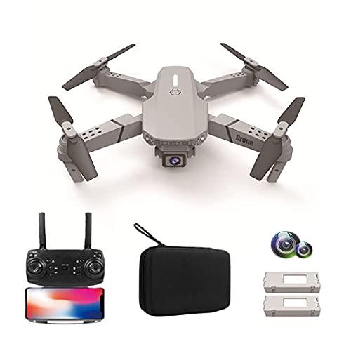 FMHCTN Drone, Aereo telecomandato Pieghevole a Quattro Assi ad Alta Definizione a Doppia Fotocamera 4K, Batteria a Lunga Durata, Compatto e Portatile, Adatto per Principianti, Doppia Batteria Grigio
