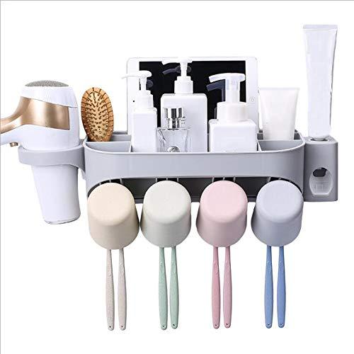 SHIRUI Dispenser Automatico di Dentifricio E Spazzolino Holder Set con Montaggio A Parete comprensivo di Porta Fit per Bambini E Adulti32.5x9cm