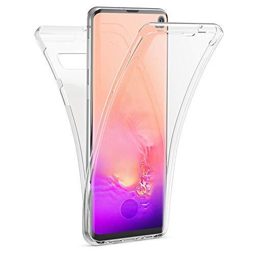 Kaliroo Handyhülle 360 Grad kompatibel mit Samsung Galaxy S10, Dünne Silikon R&um Hülle Full-Body Cover, Slim Schutzhülle Handy-Tasche Phone Hülle, Vorne und Hinten Komplett-Schutz Etui - Transparent