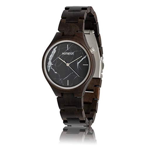 HOT&TOT Foresta | Black Marble Wood Watch | 40mm | Black, Silver, brown | Mens Womens Wooden Marble Stone Watch Analog Quartz Lightweight Handmade Wood Wrist Watch