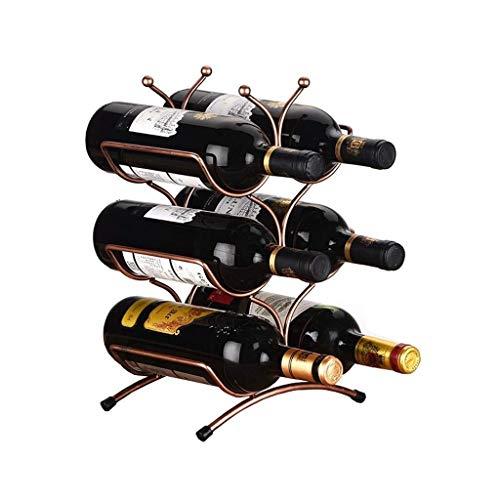 DONDOW Barware Wine Rack, 3 capas apilable botellero – Classic Wine Rack – Adecuado para barras, armarios, despensa, etc. – 6 botellas, cubo de hielo de metal