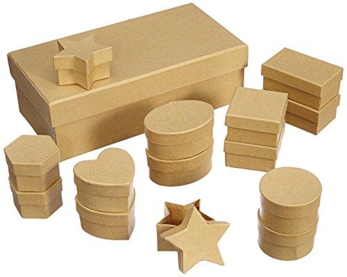 folia 31510 - Pappschachtel Set, natur, 15 teilig, sortiert in verschiedenen Formen und Größen - ideal zum Verzieren und Verschenken