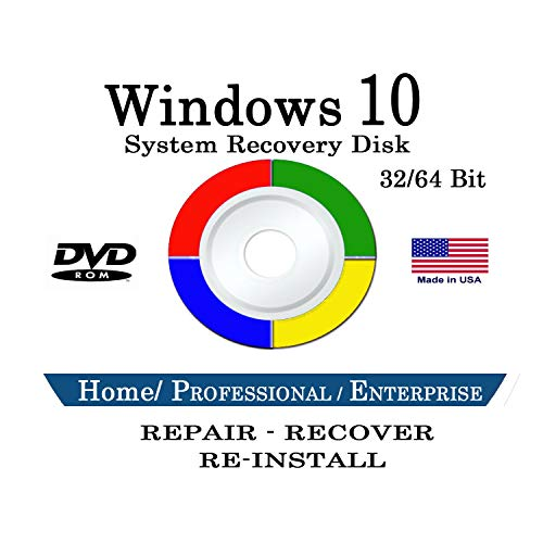 Windows 10 32-bit & 64-Bit All Editions Recovery Reinstall Recover fix DVD Disc WINDOWS 10 ANY Version Repair, Recovery, Restore, Re-install & Reboot Fix DVD Free Messaging Tech Support