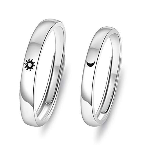 2 anéis de sol e lua para casais, de aço inoxidável, alianças de casamento e de compromisso, ajustáveis, para namorados