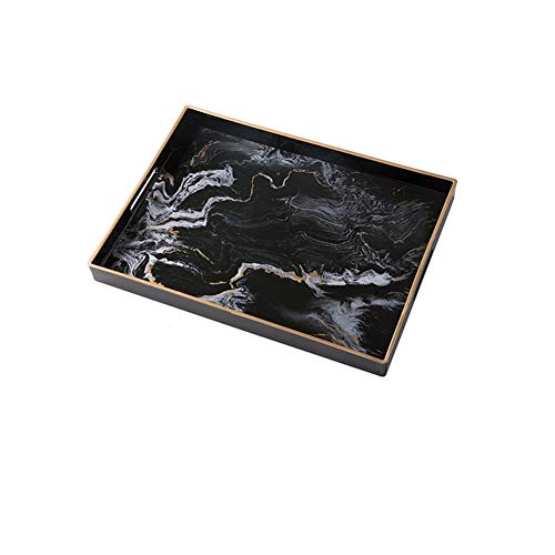 NAFE Decoratieve trays, kunststof trays met marmeren patronen, handgemaakte wastafel trays, parfum trays, sieraden trays met gouden metalen handgrepen, oppervlakte service tray decoratie
