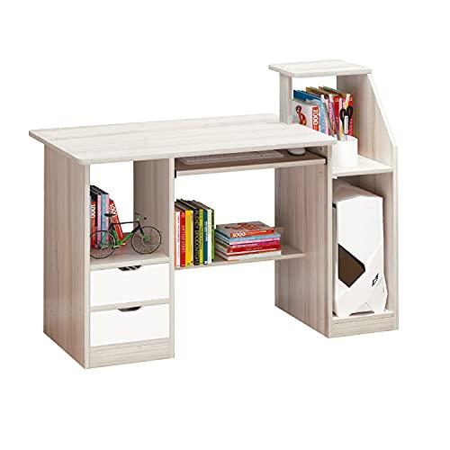 Soul, Mesa de Ordenador, Escritorio o Despacho, Mesa de Gaming, Acabado en Madera Natural y Color Blanco, Medidas: 117 cm (Largo) x 40 cm (Ancho) x 74-92 cm (Alto)