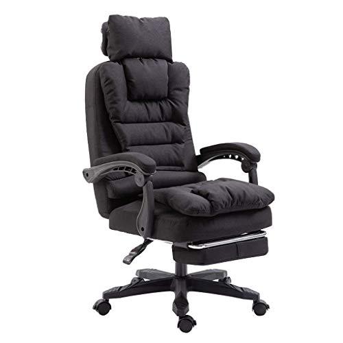 JIEER-C stoel Executive Recline met hoge rug grote stoel en kantelfunctie Afneembare doek cover Ultimate Comfort Design met uitgebreide beensteun en ligstoel (kleur: bruin) Zwart