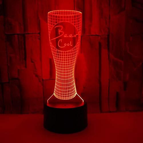 LIkaxyd LED 3D-nachtlampje, optische illusielamp 7 kleuren veranderen, Touch USB & batterij-aangedreven speelgoed decoratieve lamp, beste cadeau voor kinderen-Bierglas