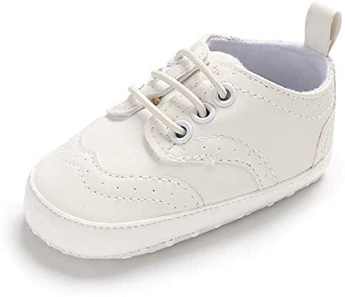 LACOFIA Baby Jungen Lauflernschuhe Kleinkinder Weiche Sohle Schnüren Sneakers Weiß 6-12 Monate