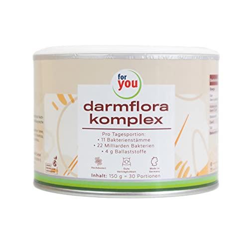for you darmflora komplex | Hochdosiertes Premium Langzeit Synbiotikum I 11 verschiedene Bakterienstämme I 22 Milliarden Keime pro Portion