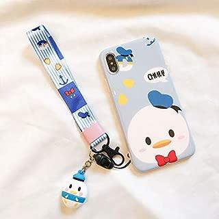 Ultra Slim Soft TPU Blue Donald Case with Charm Strap for Apple iPhone XR iPhoneXR 6.1 Shockproof Shock Proof Smooth 3D Walt Disney Cartoon Cute Lovely Cool Girls Women Teens Kids Boy
